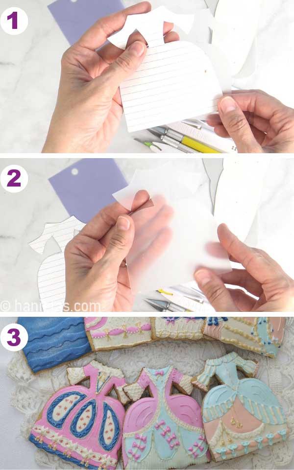 Hands holding a dress cookie cutter template.