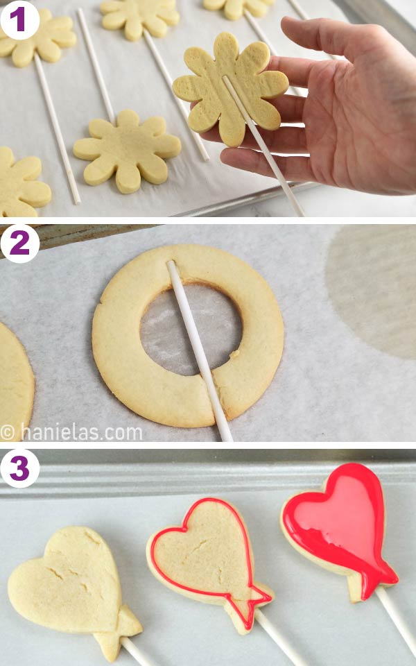 Cut out cookies with a lollipop stick baked in them.