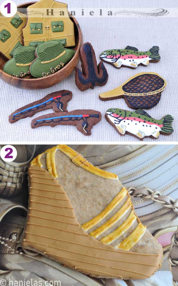 Decorated fisherman cookies, and shoe cookies.