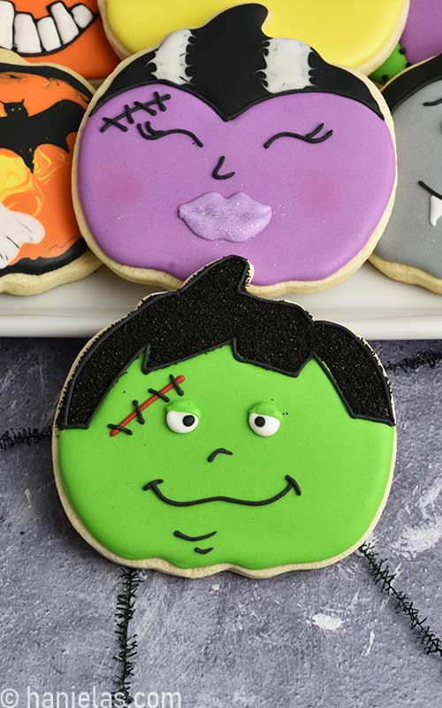 Cute Frankenstein decorated cookie for Halloween.