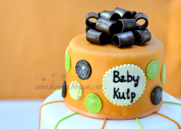 Orange Brown and Lime Baby Shower  Cake
