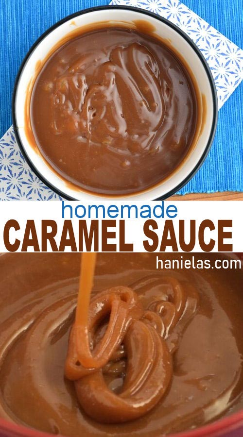 Pouring caramel sauce into a bowl.
