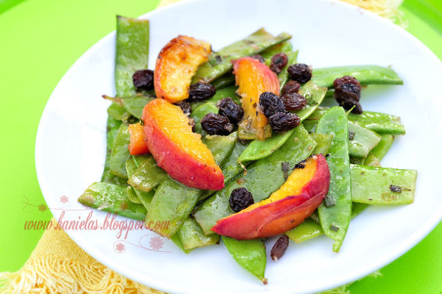 Grilled Snow Peas with Peaches and Raisins