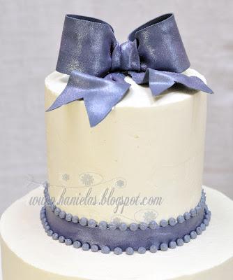 Gray White Bridal Shower Cake