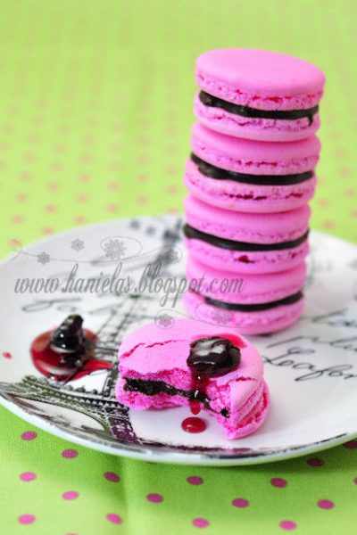 ~Chocolate Cherry Macarons -Italian Meringue Method~