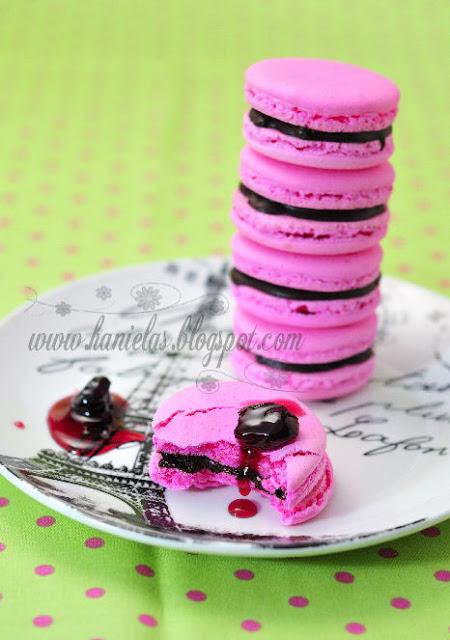 Chocolate Cherry Macarons | Italian Meringue Method