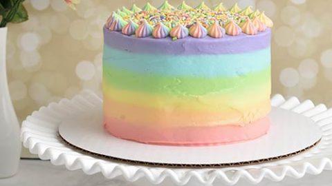 Super Pastel Rainbow Birthday Cake Hanielas Recipes Cookie Cake Personalised Birthday Cards Veneteletsinfo