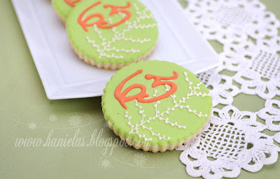 Coral, Green and Ivory Birthday Cookies