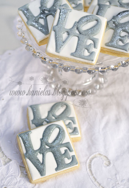 Silver and White Love Cookies