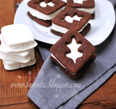 Chocolate Vanilla Marshmallow Sandwich Cookies