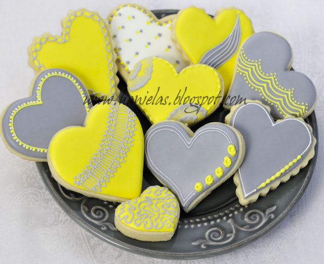 Gray Yellow and White Heart Cookies