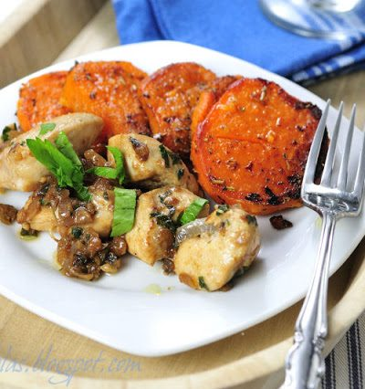 ~Caramelized Onion Chicken  with Herbed Sweet Potatoes~