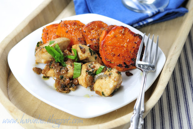 Caramelized Onion Chicken with Herbed Sweet Potatoes
