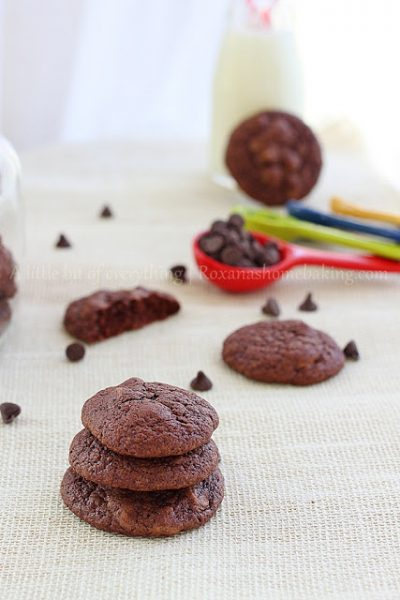 Triple Chocolate Brownies Cookies  by Roxana from A Little Bit of Everything