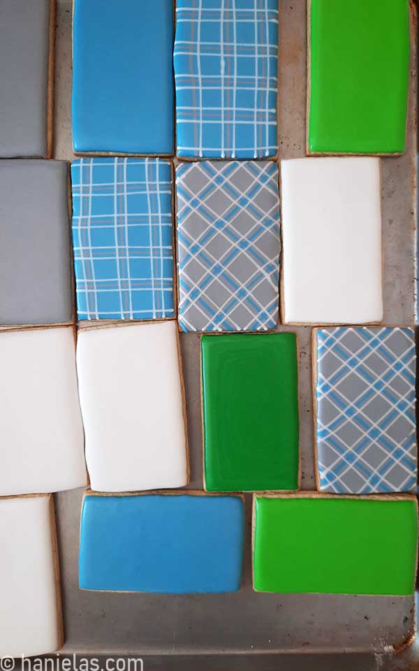 Rectangular cookies iced with royal icing.