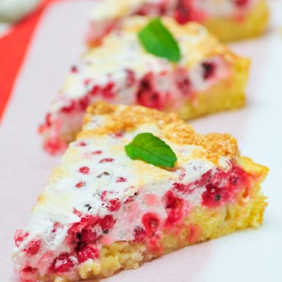 Slice of red currant meringue cake.