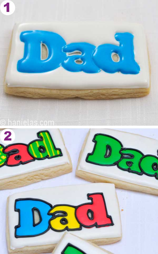 Cookie iced with royal icing.