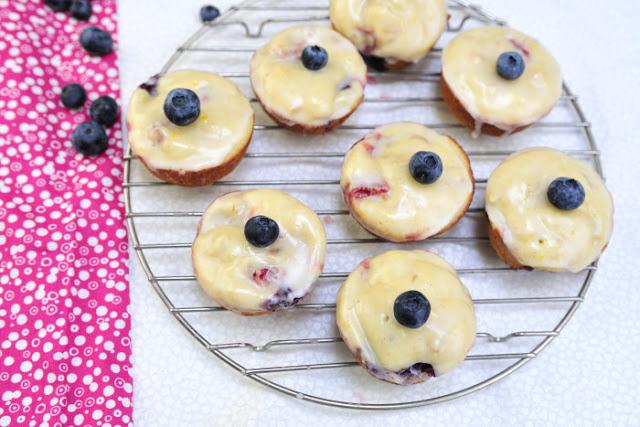 Berry Muffins with Lemon Glaze