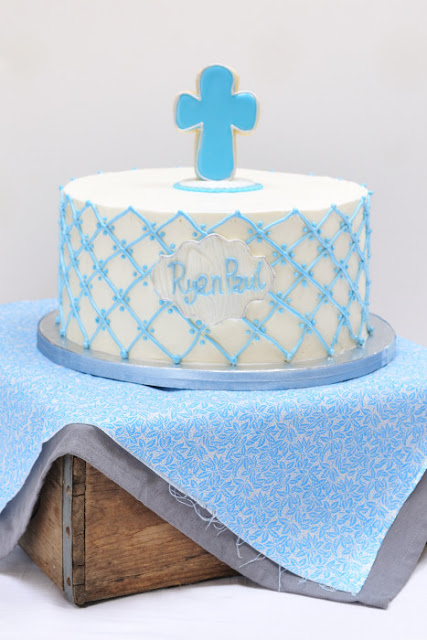 Piped Quilted Baptism Cake