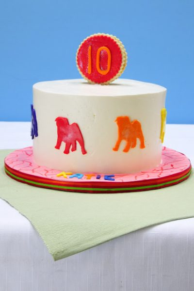 Pop Art Pug Birthday Cake