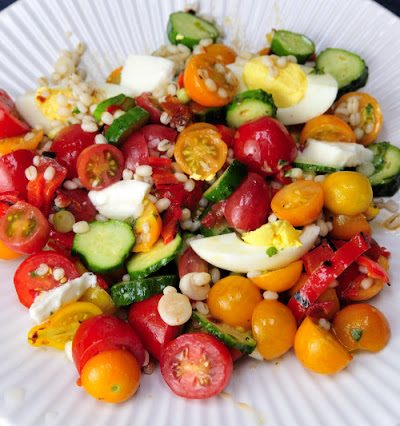 Tomato Salad with Roasted Pepper and Barley