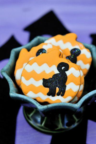 Black Cat Chevron Pumpkin Cookies
