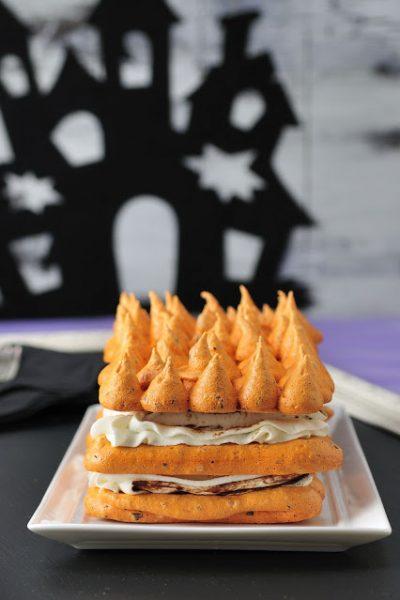 Pumpkin Spice Meringue Cake filled with Ganache and Cinnamon Cream