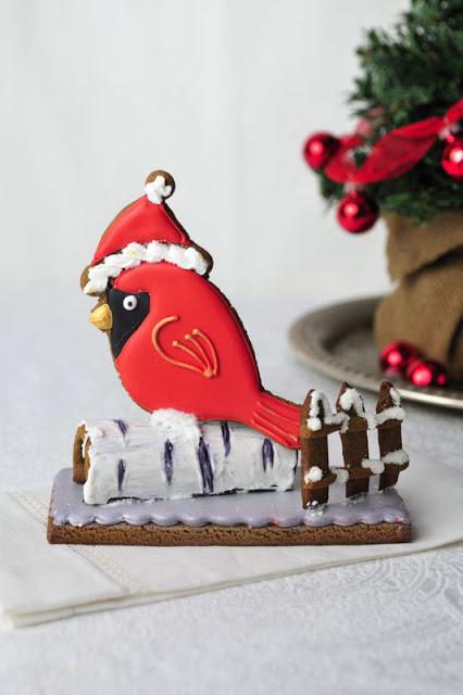 Birch and  Red Cardinal  Gingerbread Centerpiece