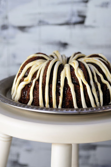 Apple Bundt Cake with Apple Cider Caramel Cream Cheese Frosting