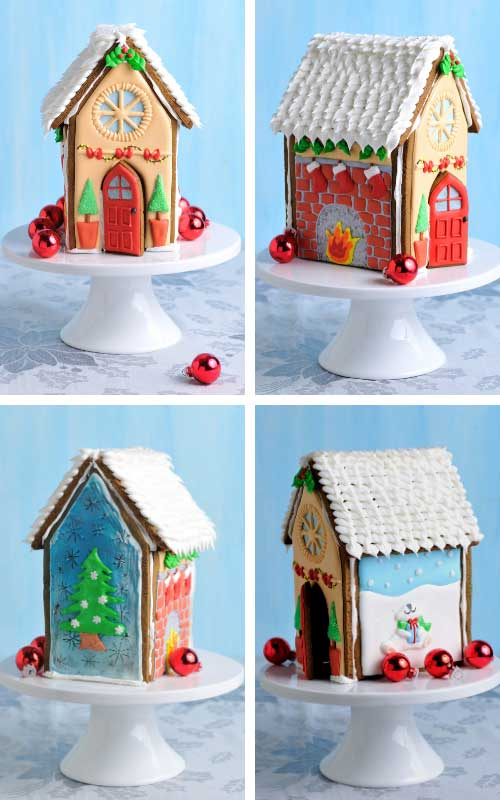 Christmas gingerbread house decorated with royal icing displayed on a cake stand.