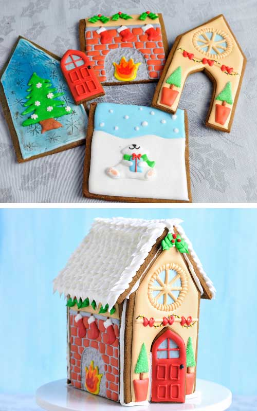 Decorated gingerbread house panels layered flat on a table.