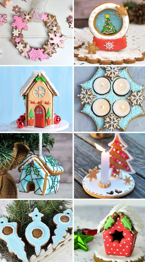 Variety of royal icing decorated gingerbread centerpieces.