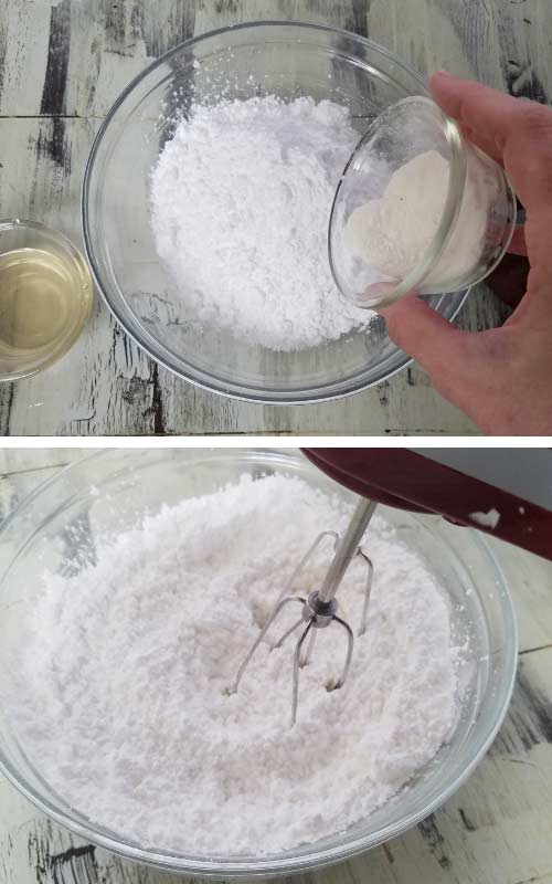 meringue powder and powdered sugar in a bowl