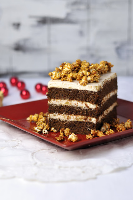 Gingerbread Cake with Vanilla Ginger Cream and Caramel Popcorn