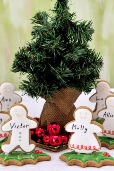 Christmas Gingerbread People Table Setting Cookies
