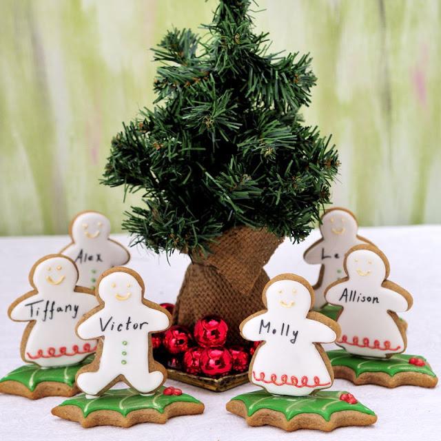 Christmas Gingerbread People Table Setting Cookies
