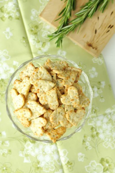 Valentine's Day Parmesan Rosemary Crackers