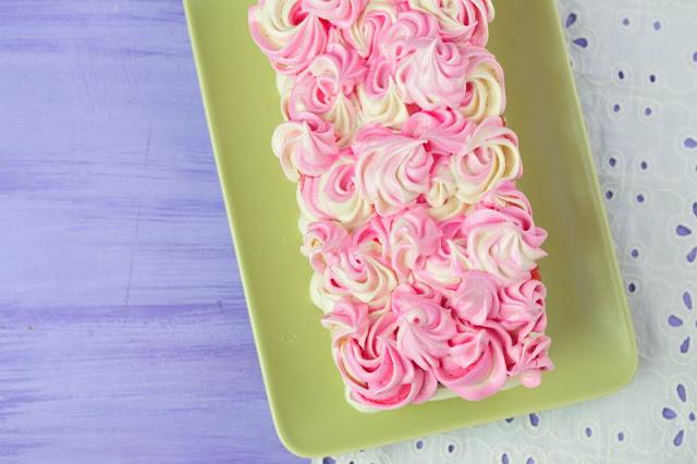 Vanilla Meringue Cake with Strawberry and Chocolate Cream Filling