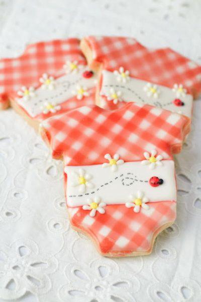 Gingham Baby Onesie Cookies