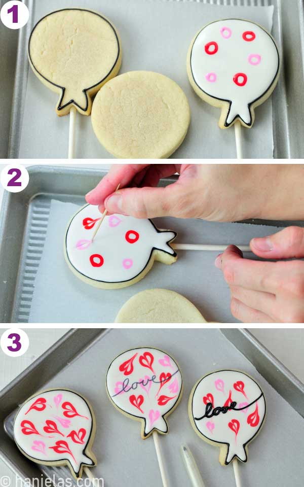 Cookie decorated with white icing and red circles, dragging the needle tool thru circles to make heart shapes.
