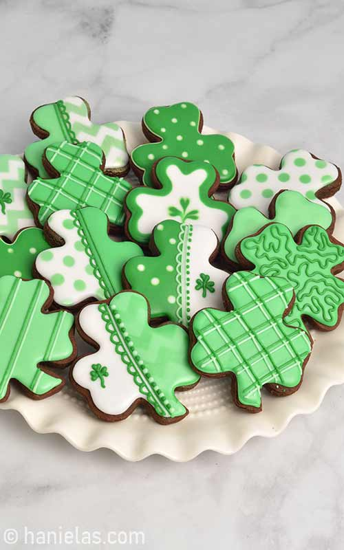 Decorated cookie displayed on a plate.
