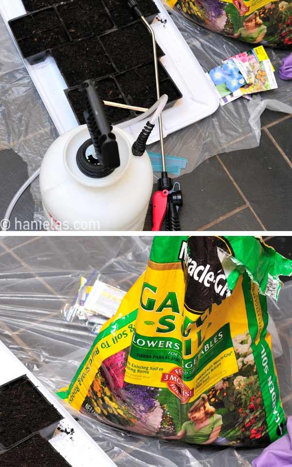Spray pressure bottle and garden soil in a bag.