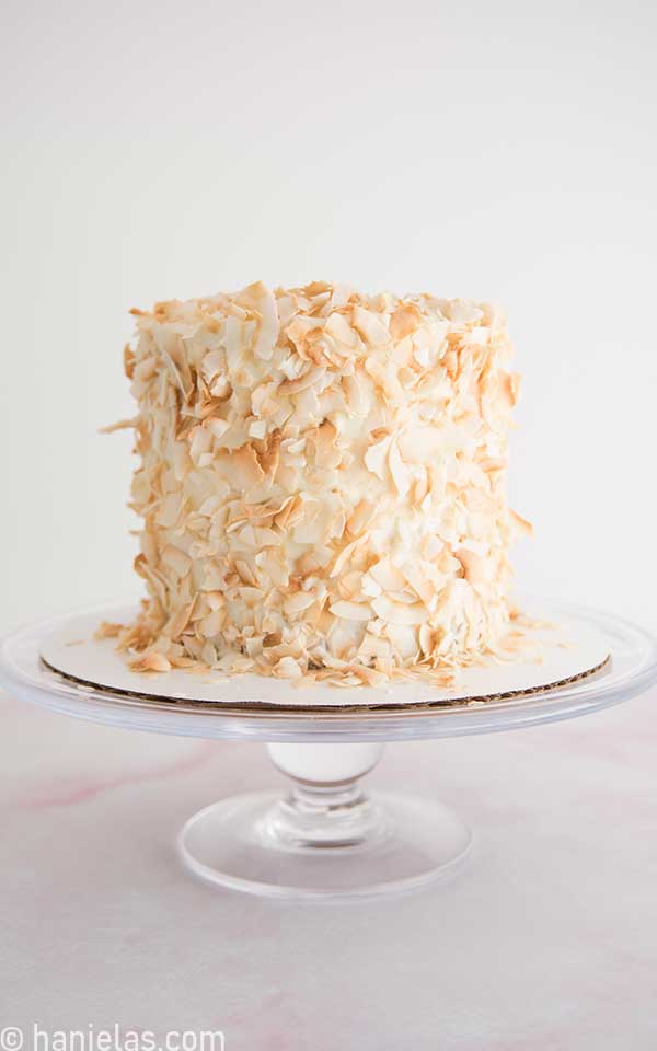 Cake decorated with toasted coconut flakes on a cake stand.