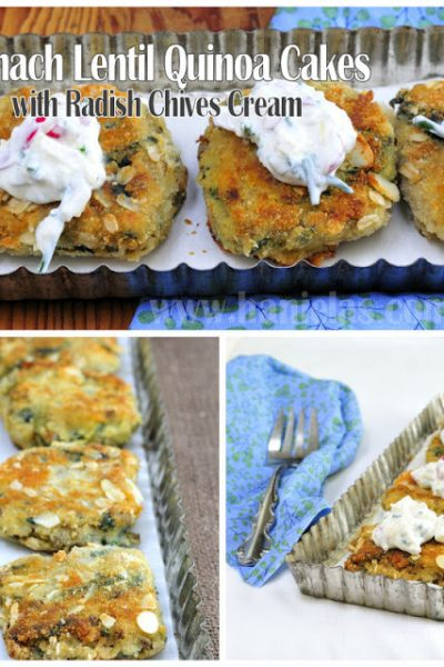 Spinach Lentil Quinoa Cakes with Radish Chives Cream