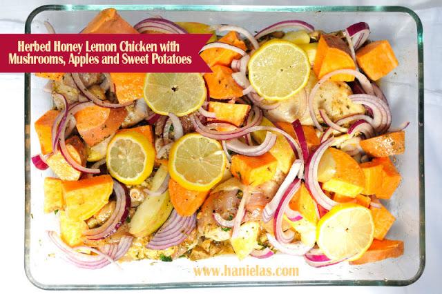 Herbed Honey Lemon Chicken with Mushrooms Apples and Sweet Potatoes