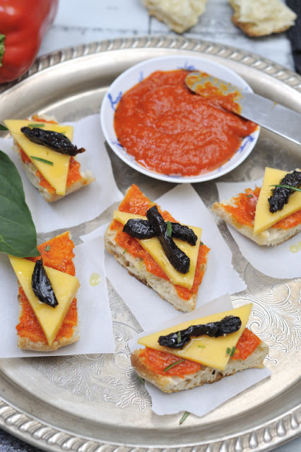 Red Pepper Paste and Cheese  Rosemary Crostini