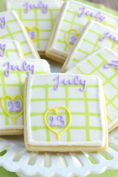 Calendar cookies on a plate.