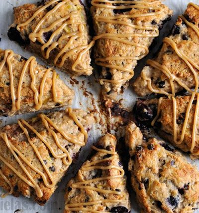 Banana Cherry Oat Scones with Peanut Butter Glaze