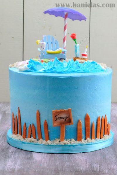 Beach Cake with Gumpaste Adirondack Chair