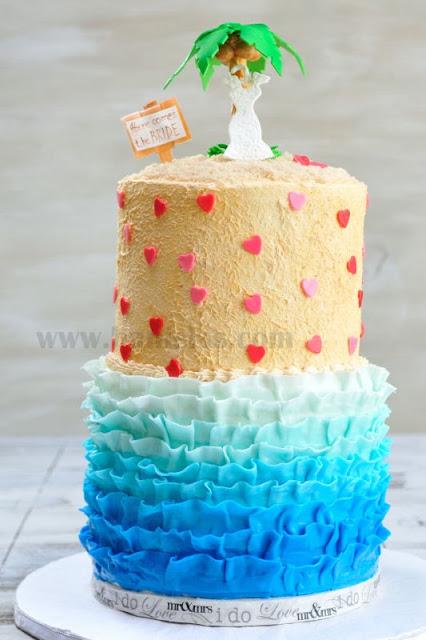 Ruffle Beach Bridal Shower Cake with a Palm Tree